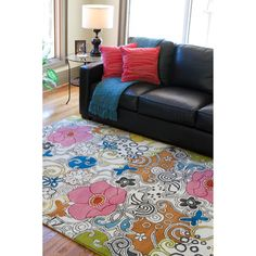 @Overstock - With this patterned hand-tufted wool rug, you can turn your floor into the focal point of any room. The bold, multicolored floral design makes a big statement, and the soft, 100 percent wool construction feels comfortable under your feet.http://www.overstock.com/Home-Garden/Hand-tufted-Genesis-Modern-Pink-Floral-Wool-Rug-5-x-8/3668873/product.html?CID=214117 $165.99