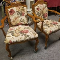 Set of 2 Vintage Cane Back Dining Chairs. French Country style on caster wheels. IN-STORE Pick up ONLY!