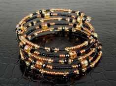 Copper Sead Bead Memory Wire Bracelet Hand Crafted by BonzerBeads