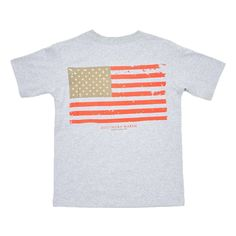 Southern Marsh Youth Vintage Flag Tee in Light Grey