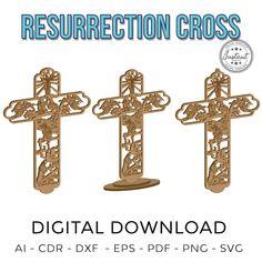 Resurrection Cross Cruz Resurreccion Laser cut Laser cut | Etsy Cnc Router, Silhouette Cameo, Cricut, Laser Cut Files, Laser Cutting, The Incredibles, Symbols, Letters