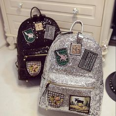2017 New Fashion Women Backpack Big Crown Embroidered Sequins Backpack Wholesale Women Leather Backpack School Bags