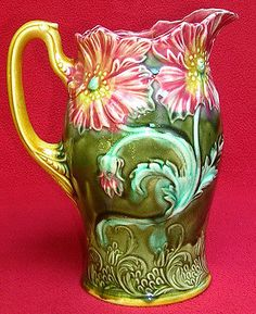 RARE AUTHENTIC ANTIQUE FRENCH ONNAING MAJOLICA POPPIES PITCHER C1880