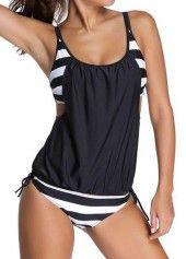 Black Spaghetti Strap Stripe Print Tankini Swimwear | Rosewe.com - USD $25.37
