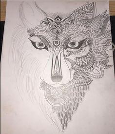 My spirit animal | wolf tattoo design | absolute beauty | Aztec