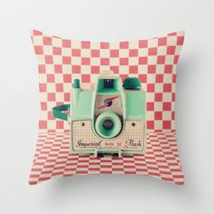 Mint Retro Camera on a red checkered background Throw Pillow