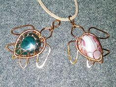 Sea turtle pendant with stones without holes - How to make wire jewelery 559 - YouTube