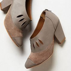 """Anthropologie Teardrop Toecap Shoes Booties Purchased from Anthropologie, these beautiful leather and suede shoes are by Nina Payne. Upper, insole, and sole are all genuine leather. 3.25"""" leather wrapped heel with a back zip. Made in Brazil. Brand new in box. Size 41 (US 10). Reasonable offers welcome! Anthropologie Shoes"""