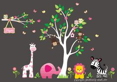 Nursery Wall Decal, Baby Girl Wall Decal, Children Wall Decals, Wall Decals Nursery, Jungle Animals Wall Decal - 583