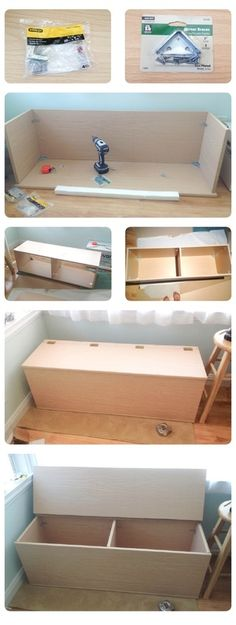 DIY storage Bench. This would be great for the living room for toys