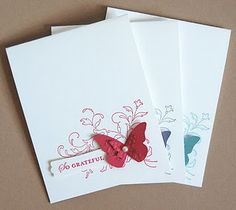Mama Mo Stamps: CASE-ing - CASE: Copy And Share Everything. What a simple and sweet idea - mass produce in various colors - make a set as a gift, use it as a M/T card, . Cute Cards, Diy Cards, Your Cards, Scrapbooking, Scrapbook Cards, Butterfly Cards, Simple Butterfly, Card Making Inspiration, Copics