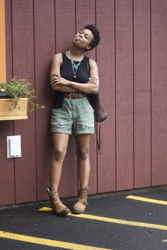 Wearing:  Free People Tank, Vintage Shorts and jewelry, Frye Engineer Boot -- @ Faintly Masculine.