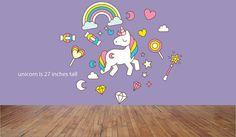 Unicorn wall decals, Unicorn decals, Baby girl's room wall decals, Cute unicorn decals, Unicorn stickers, Unicorn wall stickers, Girl's room