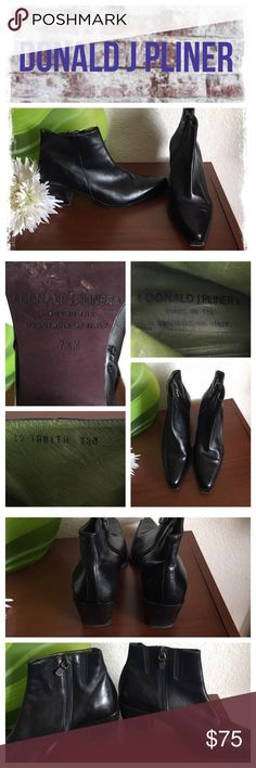 Donald J Pilner Tanith blk leather ankle boots Gently worn, normal wear on heels and soles.EUC.    REASONABLE OFFERS ONLY- -Smoke and pet free - I try to stay around 75% off MSRP; please keep this in mind when making offers.  -I do not model anything; everything looks different on everyone and I don't wasn't too Jade that. I will provide measurements if needed.  -NO HOLDS, NO TRADES, POSH RULES ONLY! Donald J. Pliner Shoes Ankle Boots & Booties