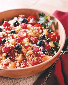 EAT THIS: Tabbouleh Fruit Salad Recipe Click through for 5 more delicious blueberry, strawberry, and raspberry recipes: Fruit Salad Recipes, Raw Food Recipes, Diet Recipes, Vegetarian Recipes, Healthy Recipes, Healthy Fruits, Healthy Salads, Healthy Eating, Healthy Cooking
