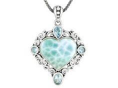 Heart Shape Larimar Cabochon, 2.35ctw Glacier Topaz(Tm) S/S Pendant With Chain Erv $201.00