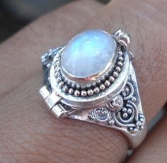 Odele Moonstone Poison Box Sterling Silver Ring
