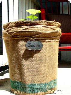 What a great idea for patio gardening - diy burlap & 5 gallon bucket planter