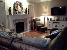 View of den from kitchen…also refurbished the dresser into an entertainment center.  I love DIY!