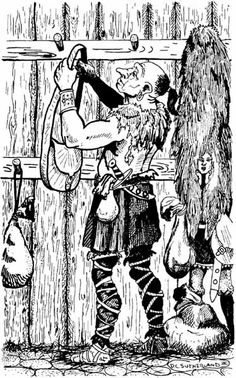 An uninvited intruder tries to sneak past the guard in the giants' entry room. David Sutherland, from AD&D module G1: Steading of the Hill Giant Chief, by Gary Gygax, TSR, 1978.