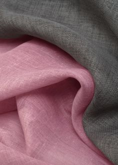 Linen Fabric ~ Pink and Gray