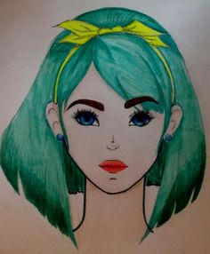 character design girl with blue eyes and green hair