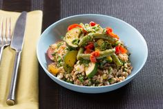 Neapolitan-Style Stewed Vegetables & Farro with Purple Beans, Summer Sweet Pepper & Gremolata. Visit https://www.blueapron.com/ to receive the ingredients.