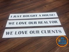Calling all Realtors! Spice up your settlement photos with our closing signs. Stand out from the crowd on social media and have some fun with your clients.  Includes 3 signs with a saying on the front and back. One saying is a hashtag specific to your business name for branding. I JUST BOUGHT A HOUSE WE LOVE OUR REALTOR WE LOVE OUR CLIENTS THE KEYS ARE MINE THE KEYS ARE OURS *YOUR BRANDED #  We can customize sayings for you! Follow us on Instagram @mycrewsdesigns Like us on Facebook…