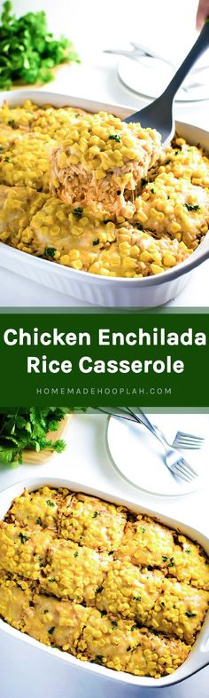 Chicken Enchilada Rice Casserole! The easier way to enjoy a chicken enchilada - baked in a dish with tender rice!   HomemadeHooplah.com