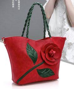 Large capacity three-dimensional rose flower decoration dumplings bag women handbag 2017 knitted handle fashion shoulder bags #Affiliate