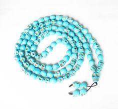 Fashion Jewelry Cool Turquoise 108 Baby Blue Vein 10x12mm Skull Beads Necklace by AnneJewelryAcc, $12.85
