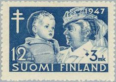 ◇Finland 1947 President's Wife with Child Presidents Wives, Postage Stamps, Finland, Europe, Baseball Cards, Children, Design, Stamps, Printmaking
