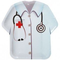 Doctor Vest Shaped Plates - 8in (8 Pack)