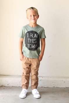 """@smallfryblog's little one heads back to school with confidence in our """"I Run This Town"""" tee. 