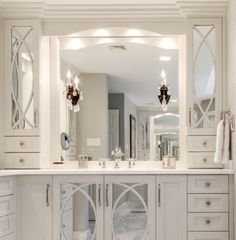 Kraftmaid Raleigh Mullion with Mirror instead of Glass on the Vanity Linen Cabinet vanities Farmhouse Master Bedroom Bathroom, Bathroom Renos, Bathroom Renovations, Small Bathroom, Bathroom Vanities, Linen Cabinet In Bathroom, Shower Bathroom, Bathroom Cabinets, Modern Bathroom Design