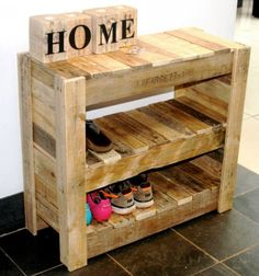 Pallet is most accepted and reliable material for constructing furniture items and the functional piece as shoe rack requires to last longer. The framework of the recycled pallet shoe rack must be well thought out to give a rustic look to the dressing room environment.: