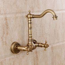 2016 Real Torneira párr Banheiro baño grifo moda cobre fregadero frío y caliente antiguo muro de doble grifo rotativo estadounidense(China (Mainland))