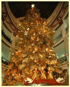 The huge Christmas tree at the City of Paris department store in Union Square, San Francisco.