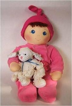 """Pattern for a handmade """"Baby bows"""" doll has a sleep face and an awake face."""