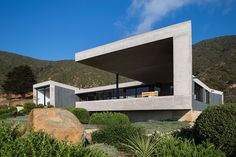 designed by Chilean architecture company Estudio Valdés Arquitectos, positioned high atop the rugged mountains Beton Design, Concrete Design, Arch House, House Front, Architecture Company, Modern Architecture, Style At Home, Bungalow, My Ideal Home