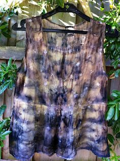 Cotton blouse dyed with eucalyptus leaves and rusty nails