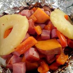 Camp Recipe: Pineapple, Ham and Sweet Potato Foil Packet.