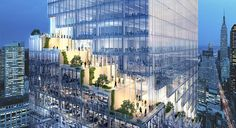 BIG's spiraling office tower in new york is wrapped with cascading terraces