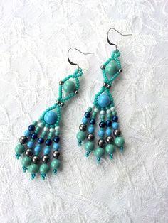 Turquoise pearl long dangle earrings, Beaded turquoise jade pearl earrings using Swarovski crystal pearls, Boho earrings, Tribal earrings by OdesiaMayJewellery on Etsy