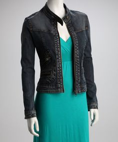 Take a look at this Blue Zip-Up Denim Jacket by Dollhouse on #zulily today!