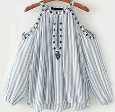 SheIn offers Open Shoulder Vertical Striped Embroidery Top & more to fit your fashionable needs. Girls Fashion Clothes, Girl Fashion, Fashion Outfits, Fashion Design, Mode Top, Ladies Dress Design, Stylish Dresses, Dress Patterns, Blouse Designs