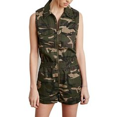 HDY Haoduoyi Summer Women Fashion Camo Print Zipper Fly Sleeveless Casual Romper Playsuit High Waist Short Jumpsuits