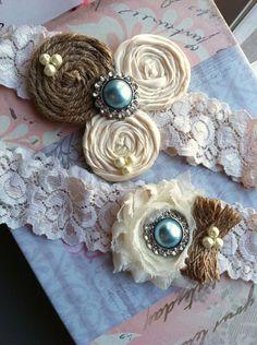 BURLAP wedding garter / bridal  garter/  lace garter /something blue / barn rustic wedding garter / vintage inspired lace garter