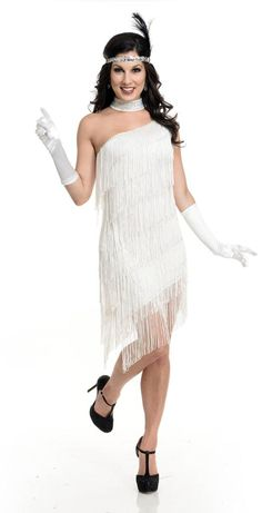 Classic Flapper Costume - includes white fringe, one shoulder dress with clear, removable strap. FYI photo does not show it, however there is gold sequin trim on top edge of dress.                                                                                                                                                                                 More