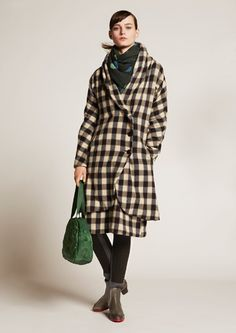 Issey Miyake, boots, jeans, jacket and scarf Kinds Of Clothes, Plaid Jacket, Green Bag, Issey Miyake, Latest Fashion Trends, Everyday Fashion, Tartan, Winter Fashion, Ready To Wear